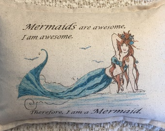 Mermaid Pillow  Lumbar. 12x18 complete pillow.  Mermaids, coastal, nautical, fairies