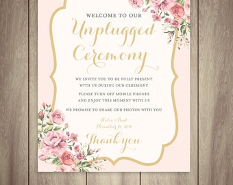Unplugged Ceremony Wedding Sign