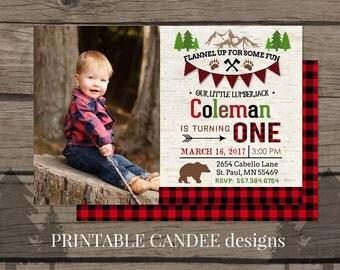 Lumberjack Birthday Invitation, Lumberjack First Birthday Party Invitation, Red Flannel Party, Woodland Bear Invitation