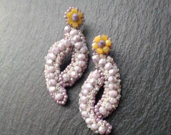 drop earring, boho earrings, lavander earrings, long earrings, dangle earrings, classic earrings, bohemian, casual, summer, wedding earrings