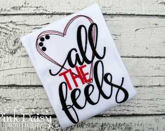 Trendy Valentines Day Shirt - Girls Valentines Day Outfit - All the Feels - Red Black - Hearts - Embroidered Shirt - Modern Design - Kids