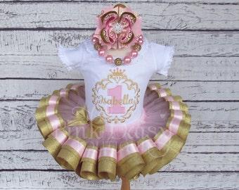 Princess Birthday Outfit - Princess Tutu - Pink Gold Princess Dress - Royal Princess Birthday Tutu - Ribbon Tutu - Princess First Birthday