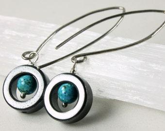 Turquoise Hematite Earrings, Sterling Silver, threader earrings, wire wrap, blue gemstone, modern, gift for her, December birthstone