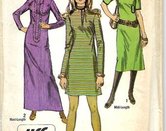 Simplicity 9001 Misses Jiffy Dress Pattern, Three Lengths, Two Necklines, Size 14, Bust 36