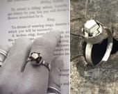 "Raw Pyrite Ring - Solid Sterling Silver - ""Castle"" Ring - Rustic Geometric Solitaire Ring"