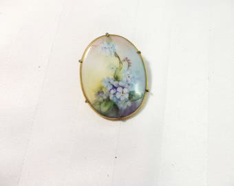 Antique Jewelry - Porcelain Pin - Antique Brooch - Hand Painted Pin - Porcelain Brooch - Floral Brooch - Victorian Jewelry - Flower Jewelry