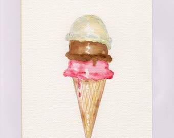 Ice Cream Cone Watercolor Print, Dessert Painting, Vanilla, Chocolate, Strawberry Flavors, Triple Scoop Wall Art, Summer Treat Picture