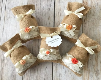 10 burlap and lace favor bags, tangerine, coral orange and peach color mixed paper flowers, wedding, bridal shower, baby shower.