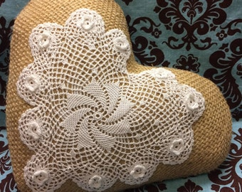 Burlap Pillow, Heart Pillow, Burlap and Lace, Heart Doily, Burlap Cushion, Small Pillow, Romantic Decor, Shabby Cottage Decor, Crochet Heart