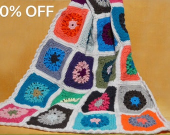 Sale, Crochet Granny Square Afghan, Circle in Square, Small Afghan