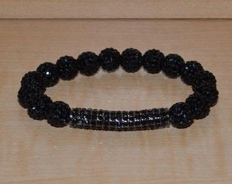 30% OFF - 38MM Bar and 10mm Jet Black Pave Disco Ball Bead Crystal Stretch Bracelet