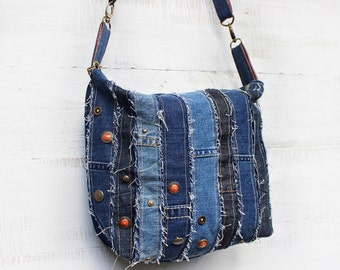 Upcycled Frayed Denim Crossbody Bag Handmade Zippered Purse with Studs and Buttons Unique Gift for Her