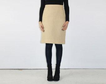 Cream Skirt - 1950s High Waist Pencil Silhouette DARTING Darts Orlon Acrylic Knee Length Minimalist Office Wiggle 50s Betty Draper WINTER