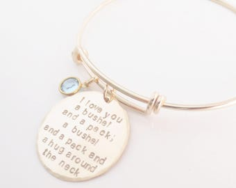 Gold Personalized Bangle, Handmade Bracelet, Handstamped, Gold Filled, Quote, Names, Dates, Mom, Mama, Wife, Anniversary, Mother's Day