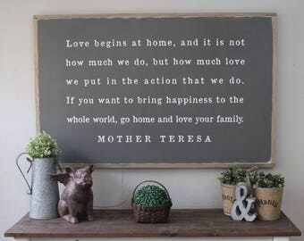 Go Home And Love Your Family, Mother Teresa Quote, Home Decor Sign, Wood Sign, Farmhouse Decor, Framed Wood Sign, Inspirational Sign