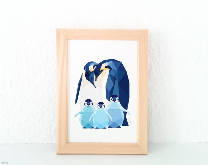 Penguin wall art, Baby penguin, Penguin family, Animal family, Baby nursery animal art, Geometric penguin, Baby animal print, Antartica art