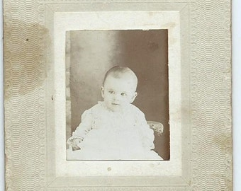 Antique Cabinet Card Photo of Baby from 1800s, Daisy Montague @ 4 Months