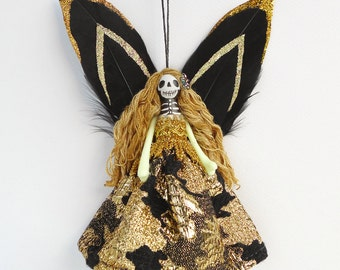 Dead Fairy Ornament, Unusual gift, dead fairy peg doll, Day of the Dead fairy decoration