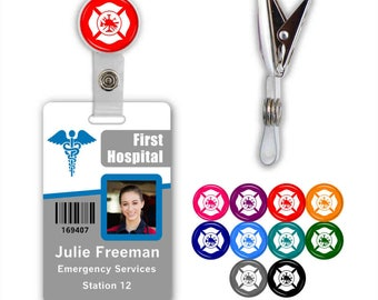 Fire Maltese Cross Badge ID Name Tag Clip - Available in 10 colors