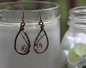 Copper Wire Earrings with Silver Wire Wrapping