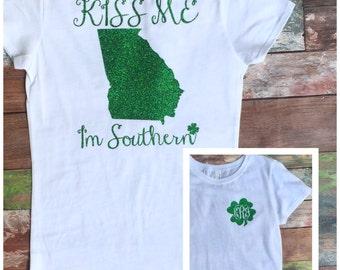 Girls St Patricks Day Shirt, Kiss Me I'm Southern, Girls St Patty's Day Shirt, Monogrammed Shirt, Monogrammed St. Patrick's Day Shirt