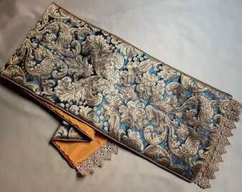 Luxury Table Runner Blue & Gold Silk Brocatelle  Rubelli Fabric Tebaldo Pattern with Gold Lace Trim - Handmade in Italy