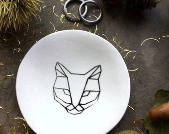 Cat Porcelain Trinket Dish Black White Geometric Design Kitty Ceramic Ring Plate Jewelry Dish Home Decor