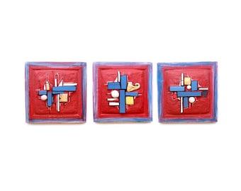 Abstract modern art, Set of 3, Large art panels ,Wall sculpture, Modern art shape, Geometric art, Contemporary art, Art for column
