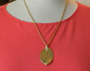 Minimalist Gold-Tone Leaf Pendant necklace on a 25'' vintage Chain