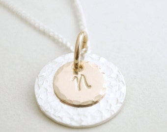 Personalized Initial Necklace Custom Hand Stamped Sterling Silver and Gold Filled