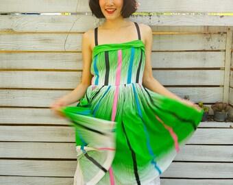 Rockabilly Dress/ Vintage Dress/ 90s Dress/ Vintage Japanese Dress/ Retro Dress/ Little Black Dress/ Camisole Stripe Dress/ Stripe Dress