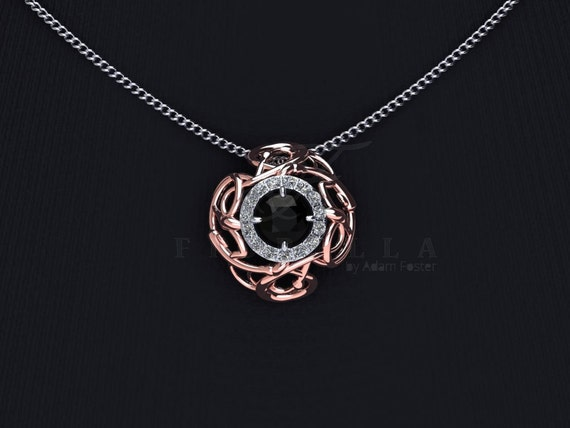 14K Gold Black Diamond Thorn Necklace