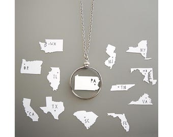 Papercut State Necklaces - Original Handcut Paper in Glass Pendants with Silver Chain - Papercut Jewelry - State Silhouettes