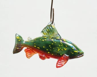 Hand Blown Glass Fish Sun Catcher/Ornament -Brook Trout