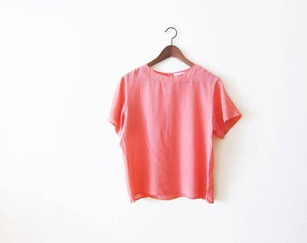 Silk Shirt / Womens Silk Blouse / Coral Pink 90s Minimalist Top / Boxy / Vintage Shirt / Medium