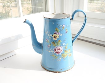 Romantic Antique French Enamelware Coffee Pot, signed, hand-painted roses and pansies, Cafetière