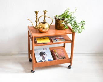 Teak magazine cart, book cart, teak magazine rack, teak Mid Century, modern wooden cart, 60s side table Ref: 589