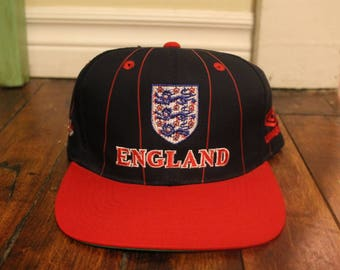 England Football snapback vtg soccer umbro backscript pinstripe ballcap hat