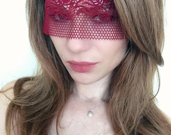 Red Lace Mask - Red Floral Mask - Sexy Red Mask - Red Masquerade Mask - Spanish Red Mark - 50 Shades of Grey Lace Mask
