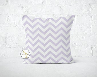 Purple Chevron Pillow Cover - Zig Zag Wisteria - Lumbar 12 14 16 18 20 22 24 26 Euro - Hidden Zipper Closure