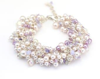 Bridal Bracelet • Pearl Cluster Bracelet • Swarovski Pearls & Crystals Sterling Silver Bracelet • Bridesmaids Jewelry • Lavender Wedding