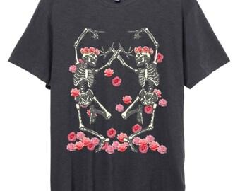 Womens Boho Vintage Dancing SKELETON Rose Flower Headdress Shirt Boyfriend Tee Top Bohemian Retro Cotton Fashion Short Sleeve Tshirt