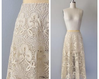 vintage 1930s hand crocheted skirt size xs - small
