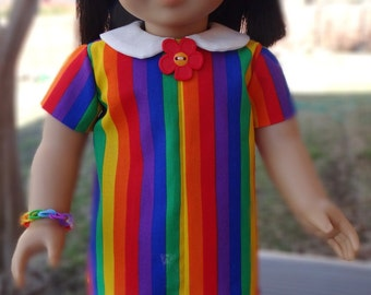 "18"" Doll Clothes Fun Rainbow 1960's / 1970's Style Dress Fits American Girl Melody, Julie, Ivy"