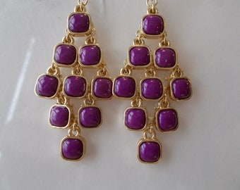 Gold Tone and Purple Beads Layered Earrings