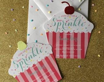 Baby Sprinkle Cupcake Invitation | Cupcake Invitation | Cupcake Baby Shower |  Baby Shower Invitation