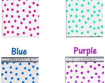"10"" x 13"" Pink|Teal|Purple|Blue Polka Dot -Flat Poly Mailers, Self Sealing Flat Envelope Mailers, Business Envelopes, Mailer Bags (100 Pack)"