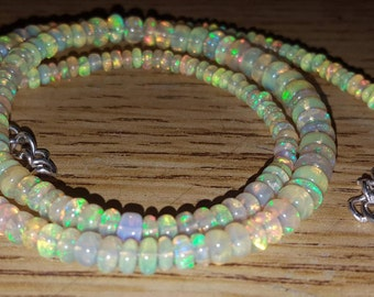 "Gorgeous 42.50cts ETHIOPIAN FIRE OPAL Rondelle Bead 16"" Necklace"