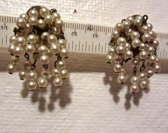 Faux Pearl Chandelier Earrings - Screw Back - Dangles -