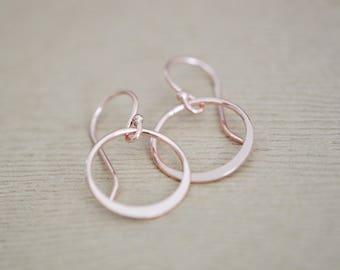rose gold circle earrings - rose gold hoop earrings - drop earrings - gift for women